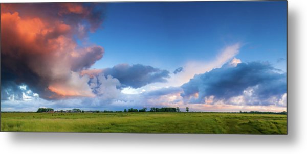 Clearing Storm Clouds At Sunset Metal Print