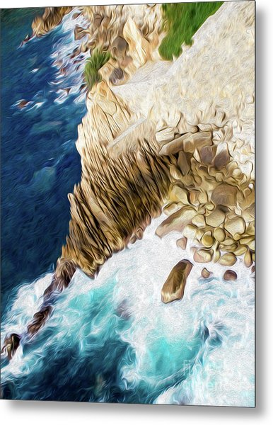 Metal Print featuring the digital art Cliffs In Acapulco Mexico Ill by Kenneth Montgomery