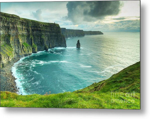 Cliffs Of Moher At Sunset, Co. Clare Metal Print