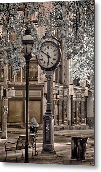Clock On Street Metal Print