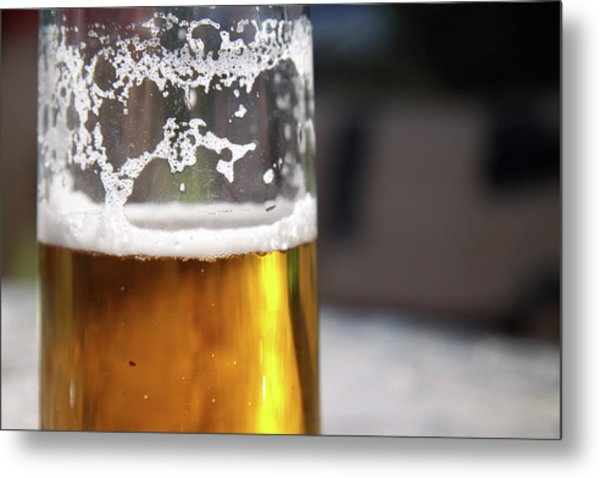 Close Up Of A Glass Of Lager Metal Print by Jodie Wallis