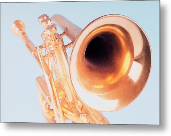 Close-up Of A Trumpet Metal Print by Photosindia