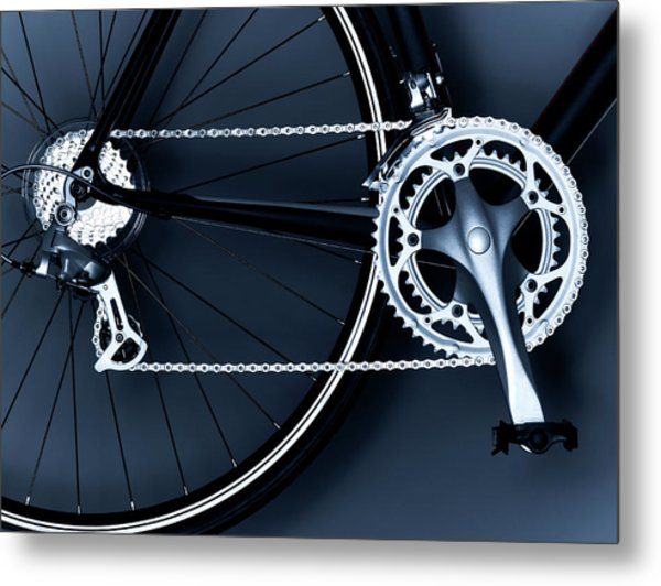 Close Up Of Bicycle Chain, Pedal And Metal Print