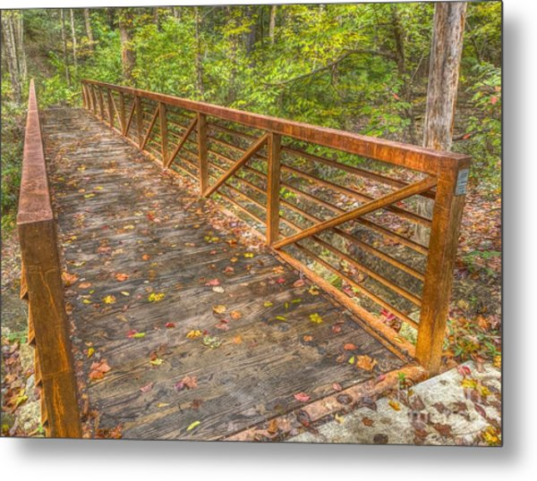Close Up Of Bridge At Pine Quarry Park Metal Print