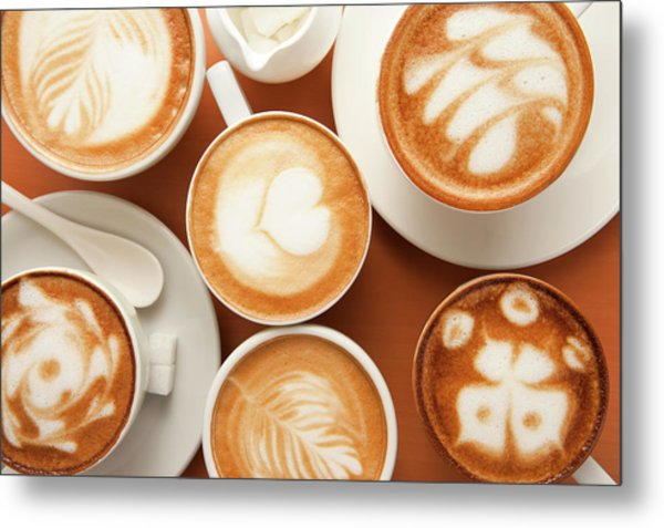 Close-up Of Cups Of Cappuccino With Metal Print by Imagemore Co, Ltd.