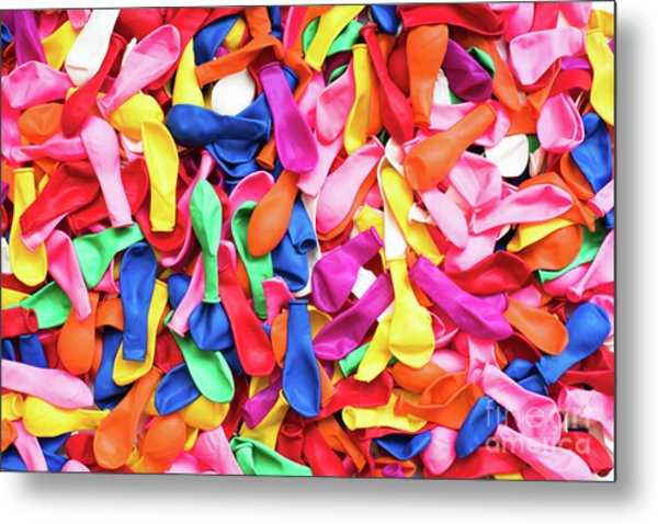 Close-up Of Many Colorful Children's Balloons, Background For Mo Metal Print