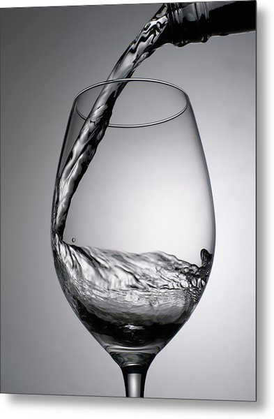 Close Up Of Wine Being Poured Into Wine Metal Print by Johner Images
