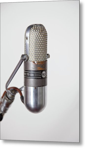Close-up Vintage Microphone On Stand Metal Print