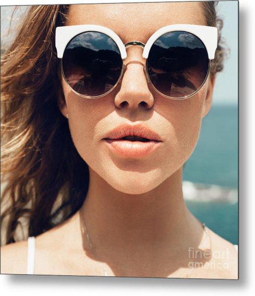 Closeup Fashion Summer Portrait Of Metal Print by Kaponia Aliaksei