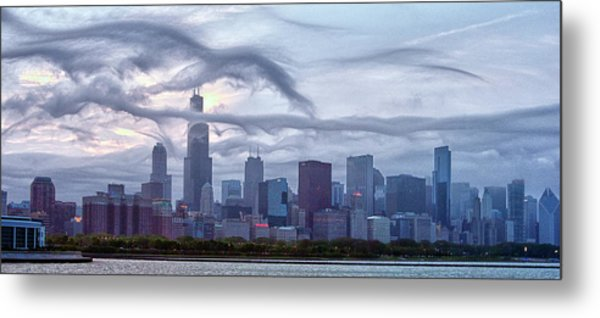 Clouds That Ate Chicago Metal Print by By Ken Ilio