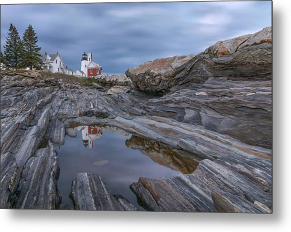 Cloudy Afternoon At Pemaquid Point Metal Print