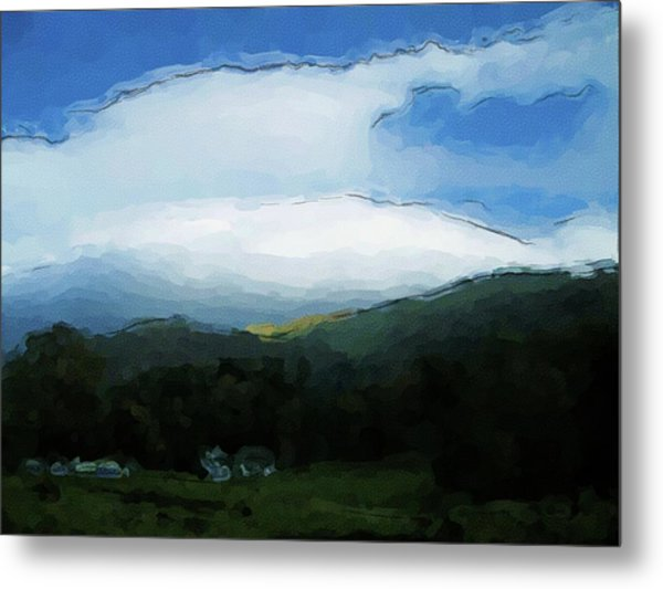 Cloudy View Painting Metal Print