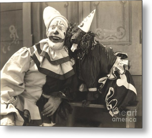 Clown Posing With Dog Dressed In Clown Metal Print