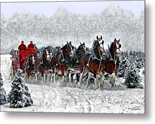 Clydesdales Hitch In Snow Metal Print