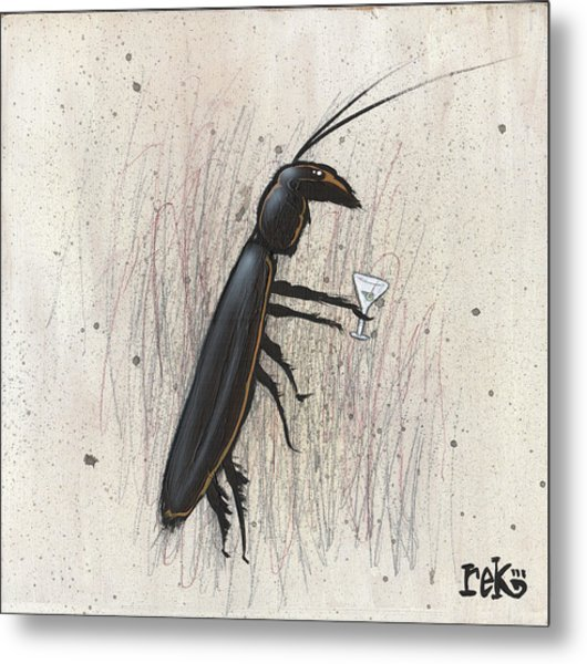 Cockroach With Martini Metal Print