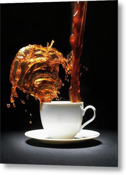 Coffee Being Poured Into Cup Splashing Metal Print by Henrik Sorensen