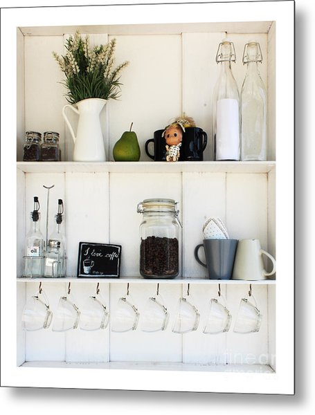 Coffee White Shelves On A White Metal Print