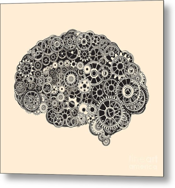 Cogs In The Shape Of A Human Brain Metal Print