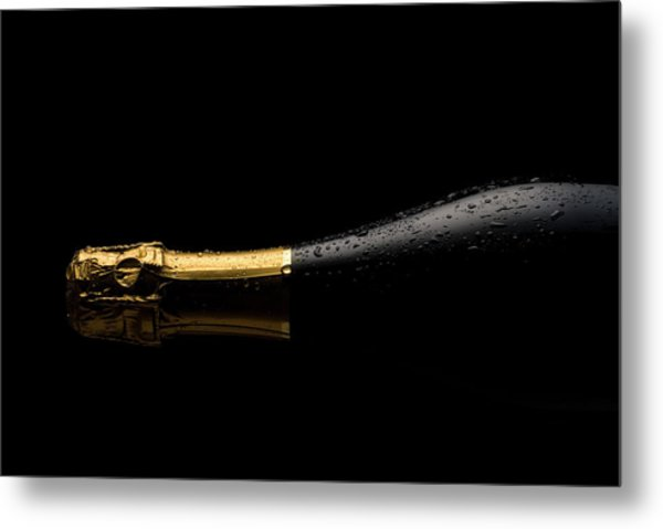 Cold Champagne Bottle Metal Print by P1images