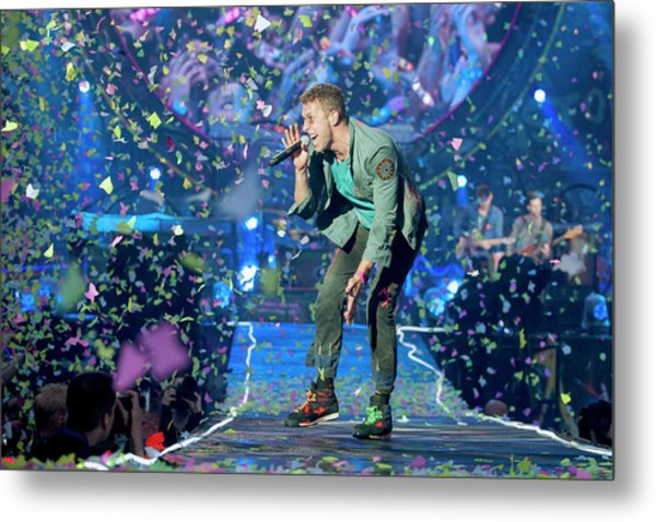 Coldplay Perform At Emirates Stadium In Metal Print by Neil Lupin