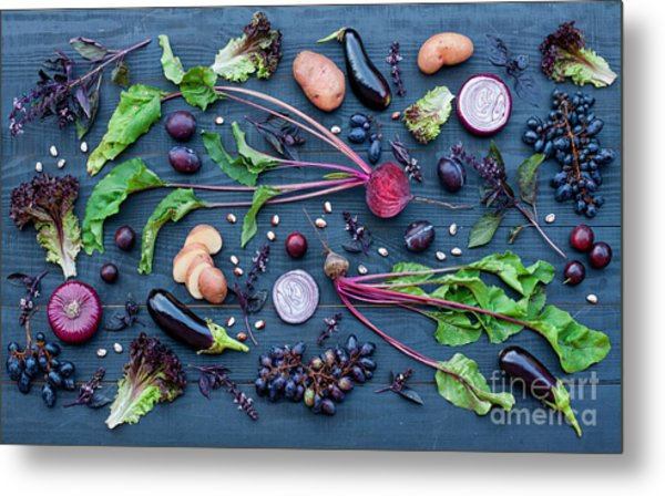 Collection Of Fresh Purple Fruit And Metal Print