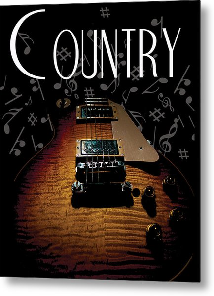 Color Country Music Guitar Notes Metal Print