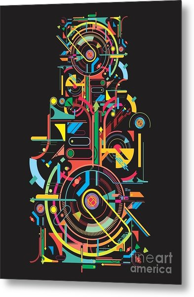 Colorful Abstract Tech Shapes On Black Metal Print