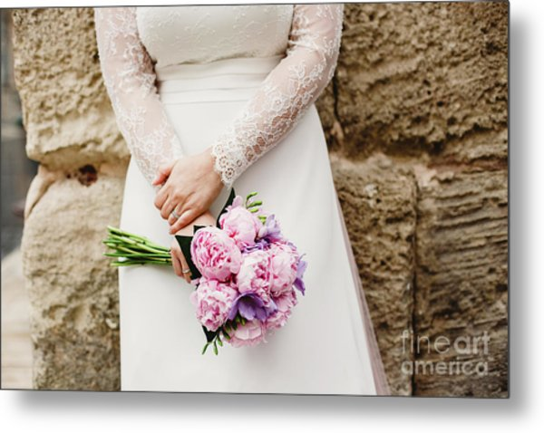 Colorful Bridal Bouquets With Flowers Metal Print
