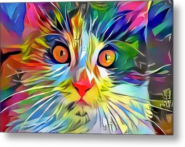 Colorful Calico Cat Metal Print