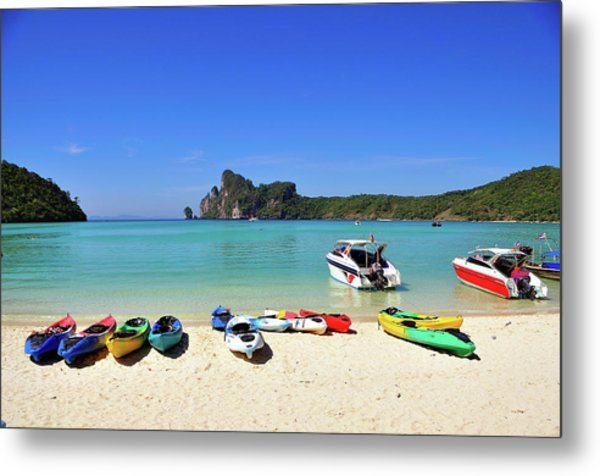 Colorful Canoes On Beach Metal Print by Aaron Geddes Photography