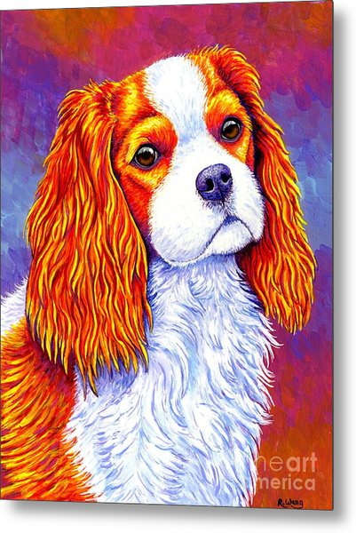 Colorful Cavalier King Charles Spaniel Dog Metal Print