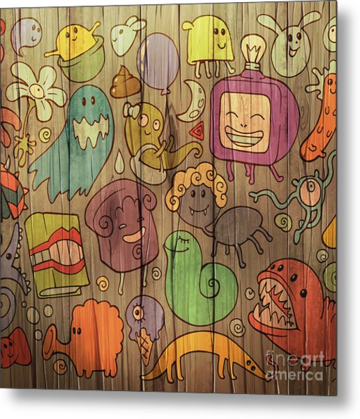 Colorful Doodle Illustrations Set With Metal Print
