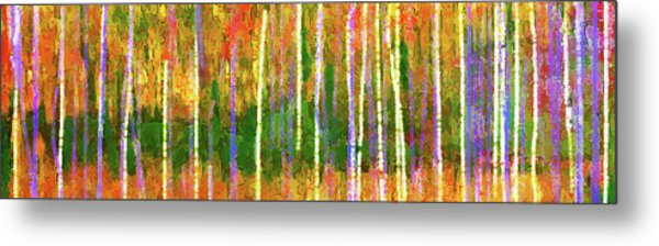 Metal Print featuring the digital art Colorful Forest Abstract by Menega Sabidussi