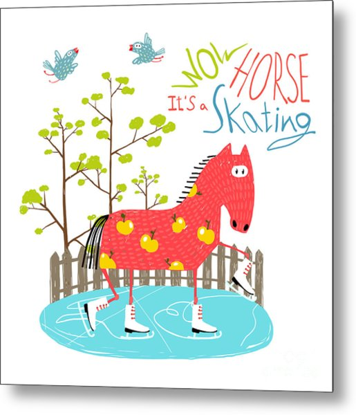 Colorful Fun Cartoon Ice Skating Horse Metal Print