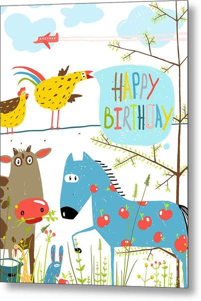 Colorful Funny Cartoon Farm Domestic Metal Print by Popmarleo