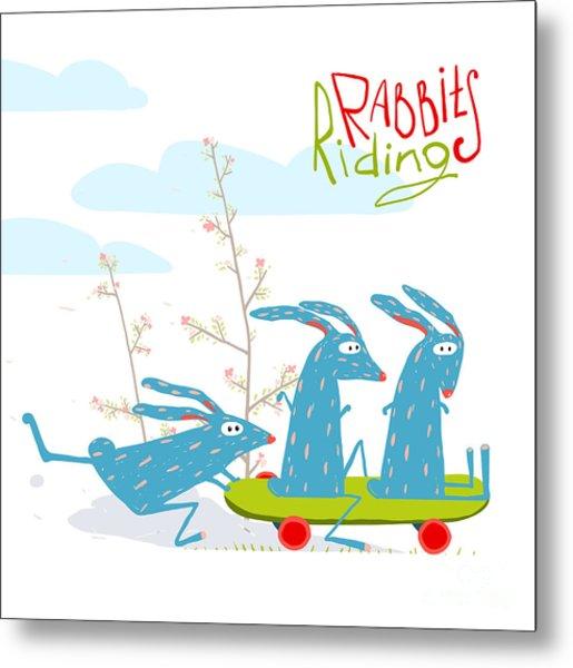 Colorful Funny Cartoon Rabbits Riding Metal Print