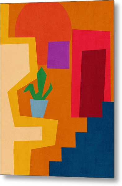 Colorful Geometric House 1- Art By Linda Woods Metal Print