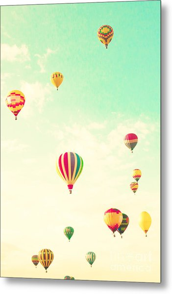 Colorful Hot Air Balloons In A Green Metal Print