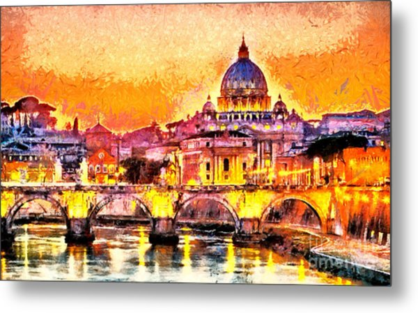 Colorful Illuminated San Peter Basilica Metal Print