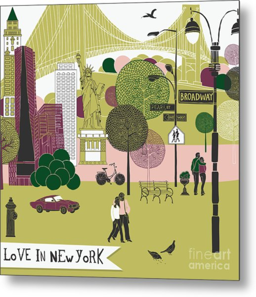 Colorful Illustration Of New York Metal Print by Lavandaart