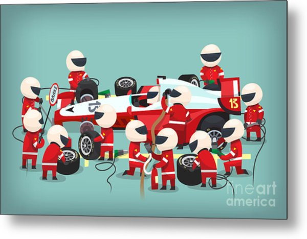 Colorful Illustration With Pit Stop Metal Print