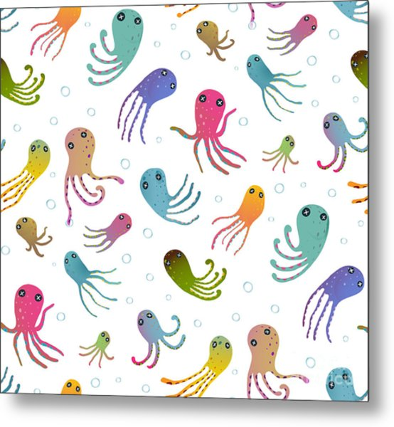 Colorful Kids Cartoon Octopus Seamless Metal Print