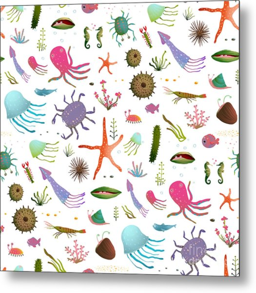 Colorful Kids Cartoon Sea Life Seamless Metal Print
