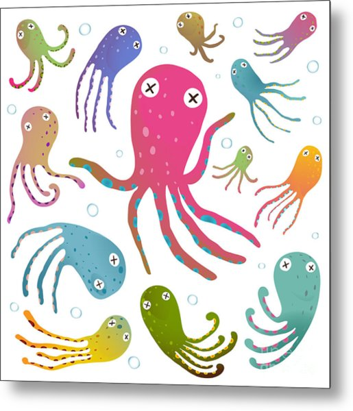 Colorful Octopus Isolated On White Metal Print