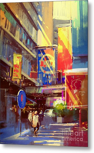 Colorful Painting Of Urban Metal Print by Tithi Luadthong