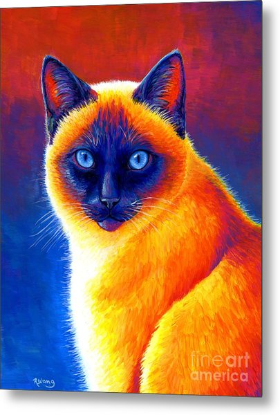 Jewel Of The Orient - Colorful Siamese Cat Metal Print