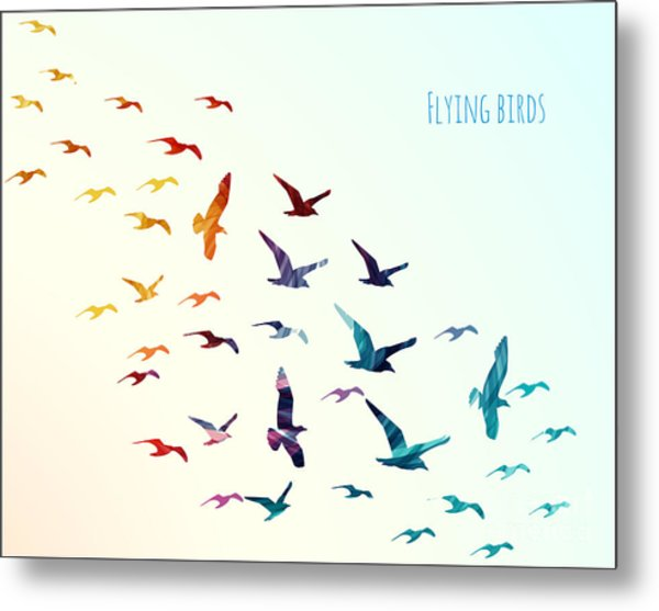 Colorful Silhouettes Of Flying Birds Metal Print