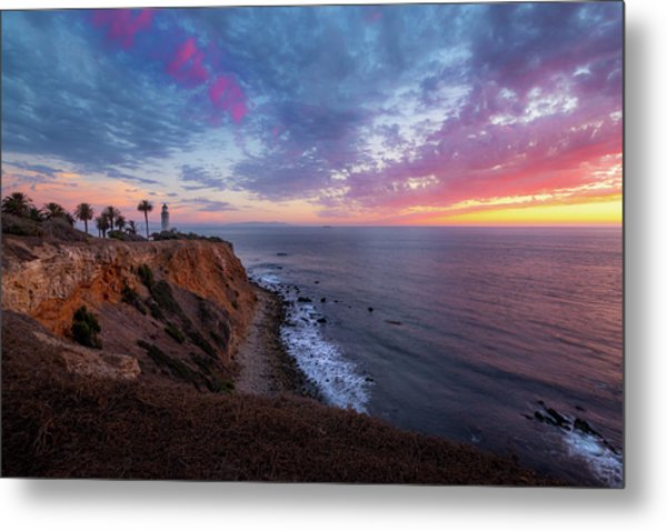 Colorful Sky After Sunset At Point Vicente Lighthouse Metal Print