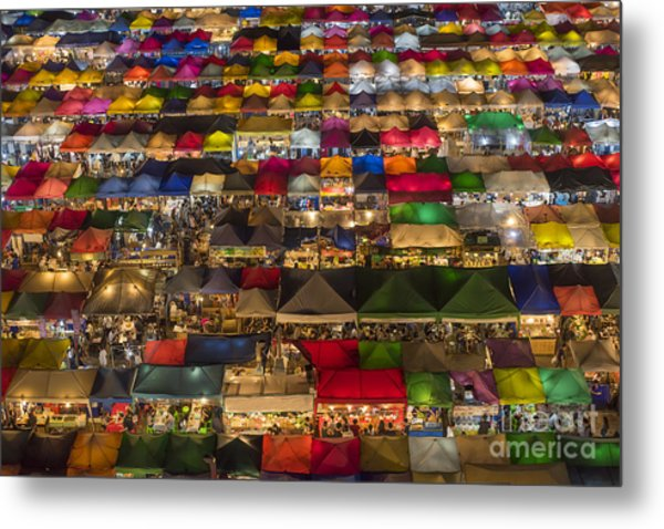 Colorful Street Market From Above Metal Print by Duke.of.arch