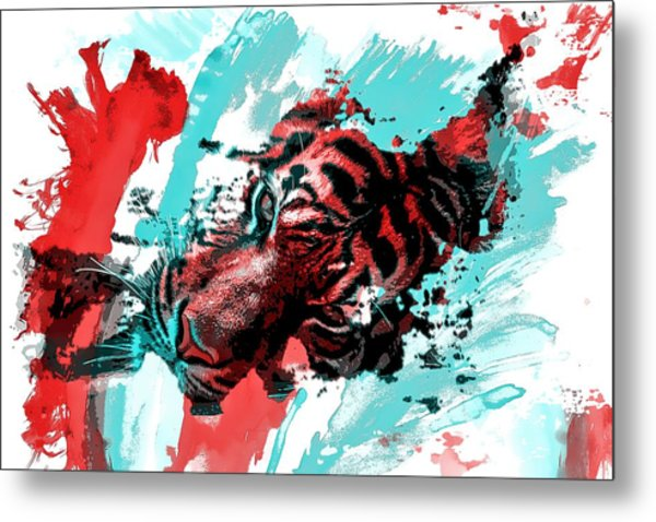 Colorful Tiger Metal Print